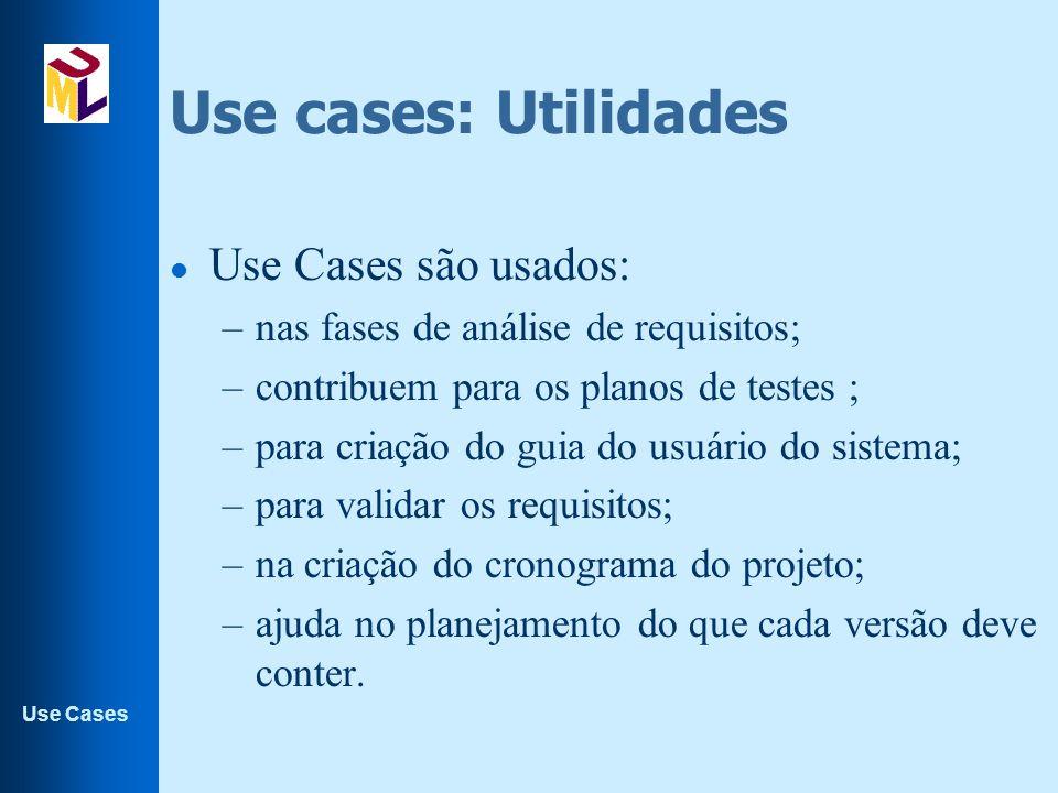 Use Cases Use cases: Utilidades l Use Cases são usados: –nas fases de análise de requisitos; –contribuem para os planos de testes ; –para criação do g