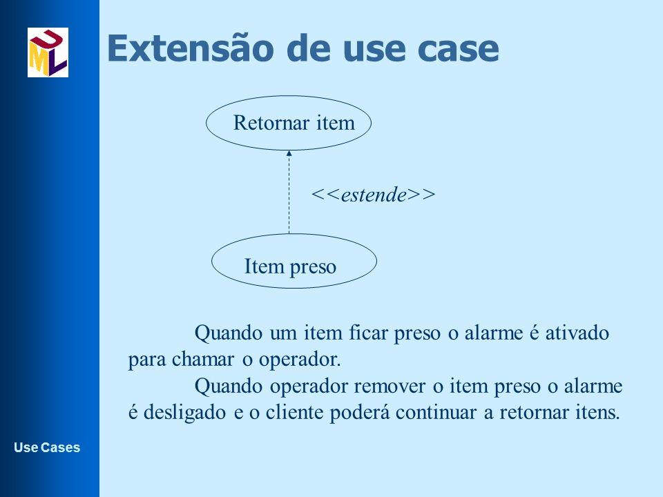 Use Cases Extensão de use case Retornar item Item preso > Quando um item ficar preso o alarme é ativado para chamar o operador. Quando operador remove