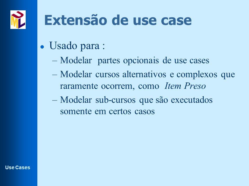 Use Cases Extensão de use case l Usado para : –Modelar partes opcionais de use cases –Modelar cursos alternativos e complexos que raramente ocorrem, c