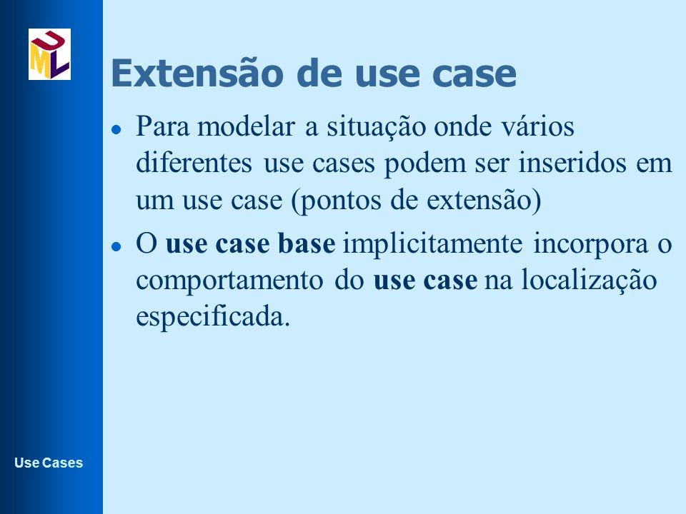Use Cases Extensão de use case l Para modelar a situação onde vários diferentes use cases podem ser inseridos em um use case (pontos de extensão) l O