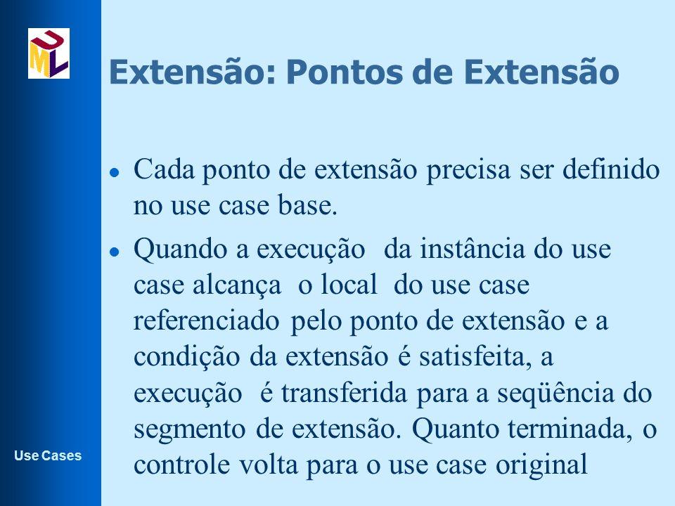 Use Cases Extensão: Pontos de Extensão l Cada ponto de extensão precisa ser definido no use case base. l Quando a execução da instância do use case al