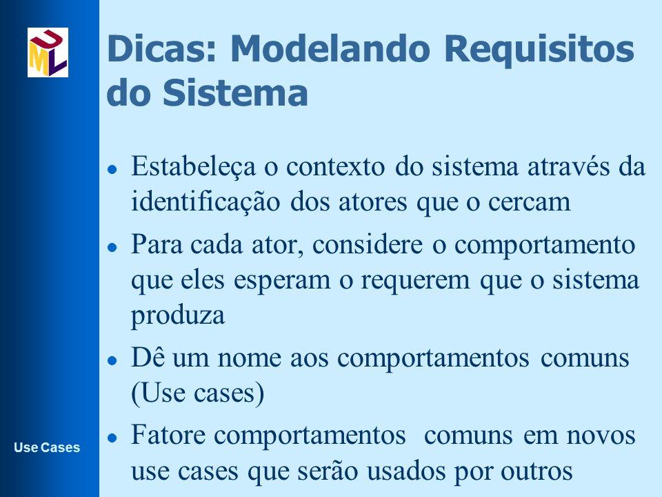 Use Cases Dicas: Modelando Requisitos do Sistema l Estabeleça o contexto do sistema através da identificação dos atores que o cercam l Para cada ator,