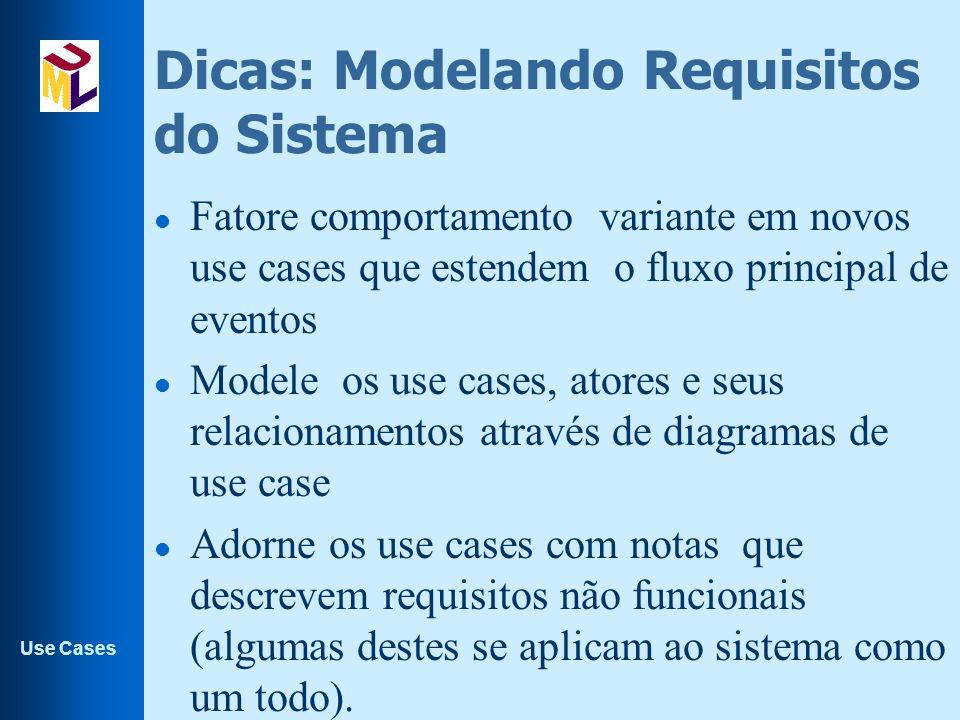 Use Cases Dicas: Modelando Requisitos do Sistema l Fatore comportamento variante em novos use cases que estendem o fluxo principal de eventos l Modele