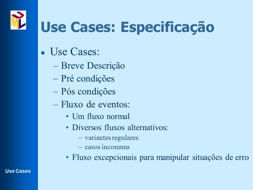 Use Cases Use Cases: Especificação l Use Cases: –Breve Descrição –Pré condições –Pós condições –Fluxo de eventos: Um fluxo normal Diversos fluxos alte