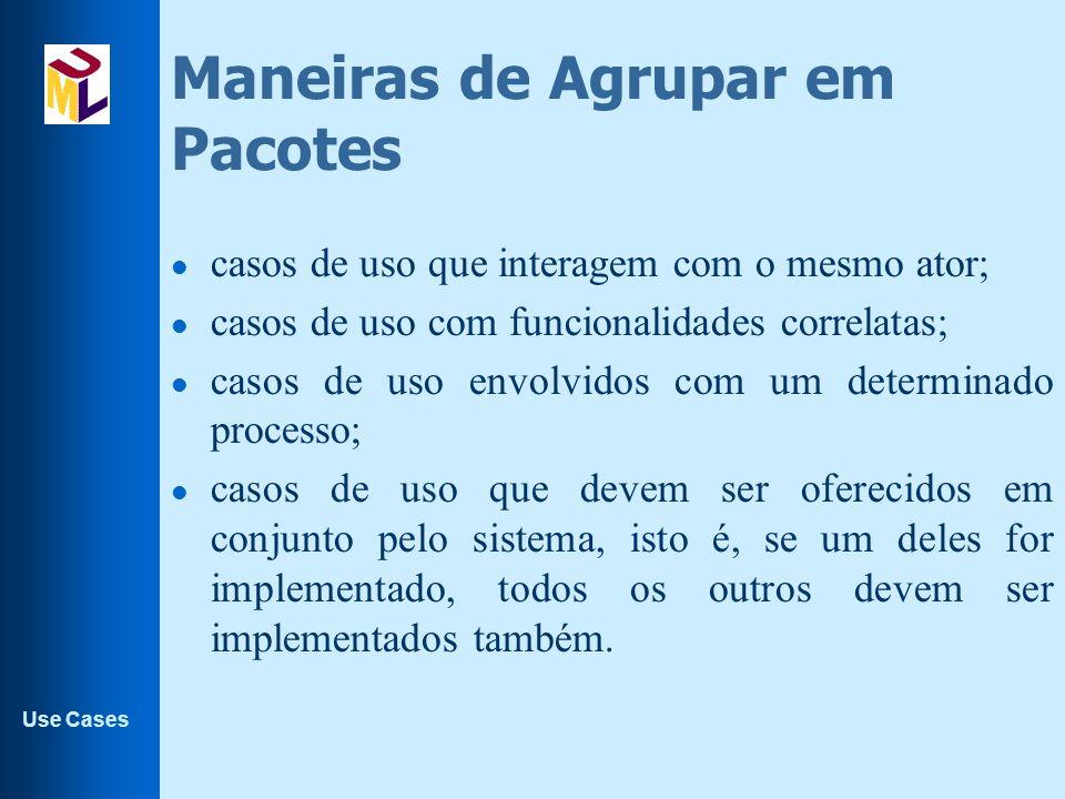 Use Cases Maneiras de Agrupar em Pacotes l casos de uso que interagem com o mesmo ator; l casos de uso com funcionalidades correlatas; l casos de uso