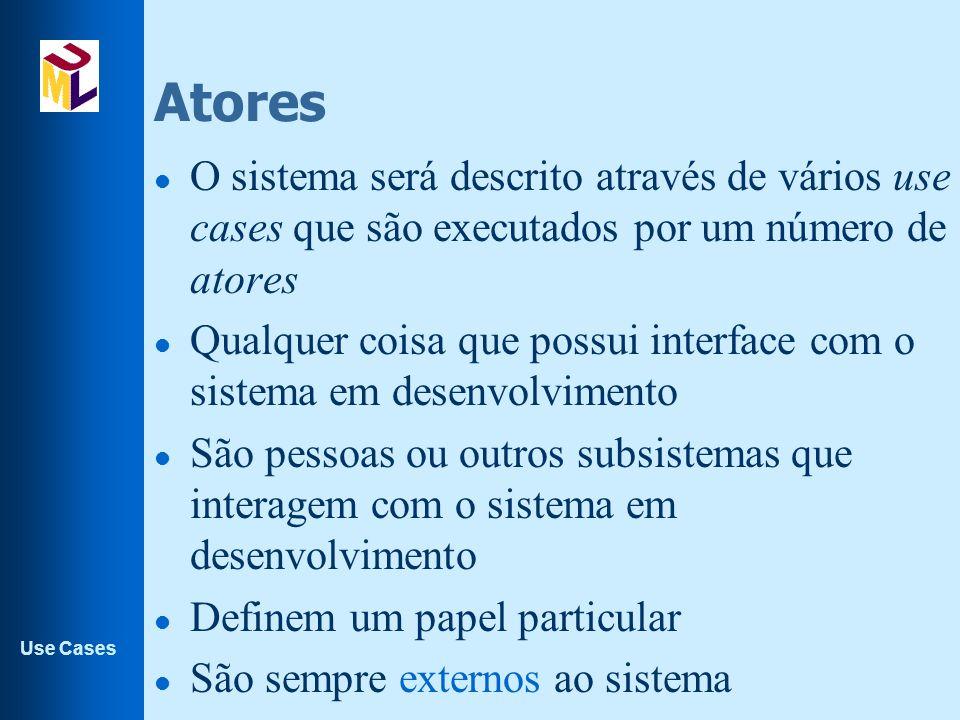 Use Cases Atores l O sistema será descrito através de vários use cases que são executados por um número de atores l Qualquer coisa que possui interfac