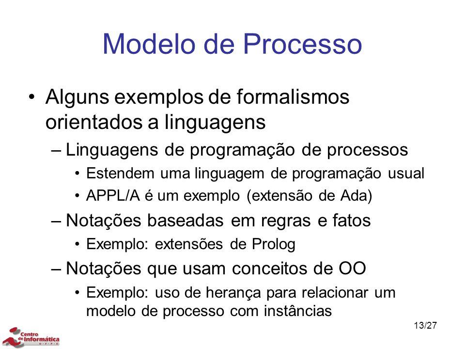 Modelo de Processo Alguns exemplos de formalismos orientados a linguagens –Linguagens de programação de processos Estendem uma linguagem de programaçã