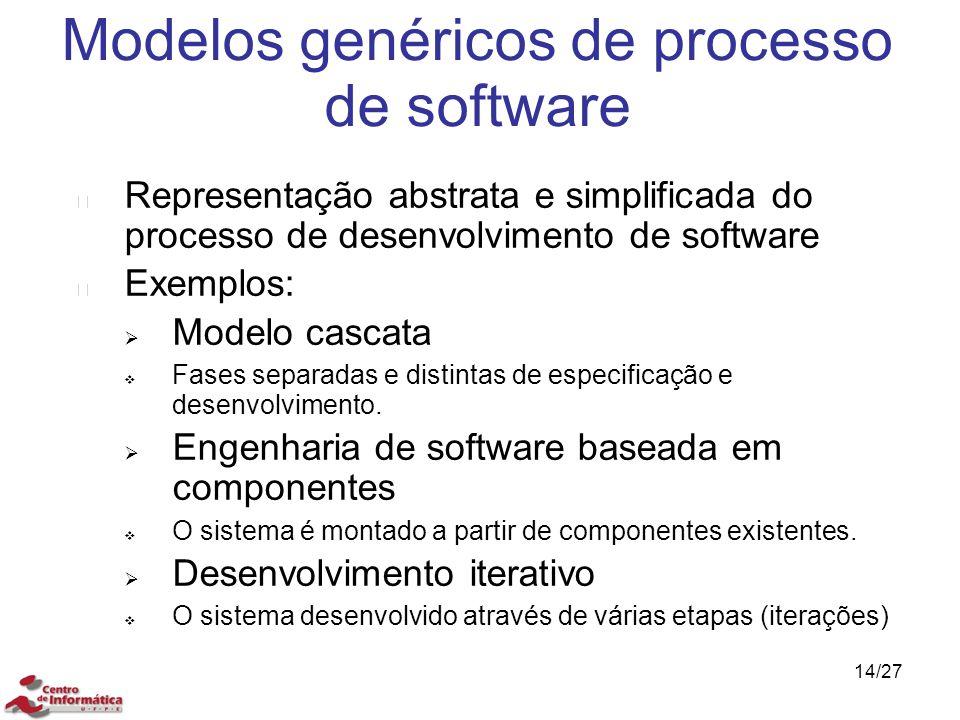 Modelos genéricos de processo de software Representação abstrata e simplificada do processo de desenvolvimento de software Exemplos:  Modelo cascata