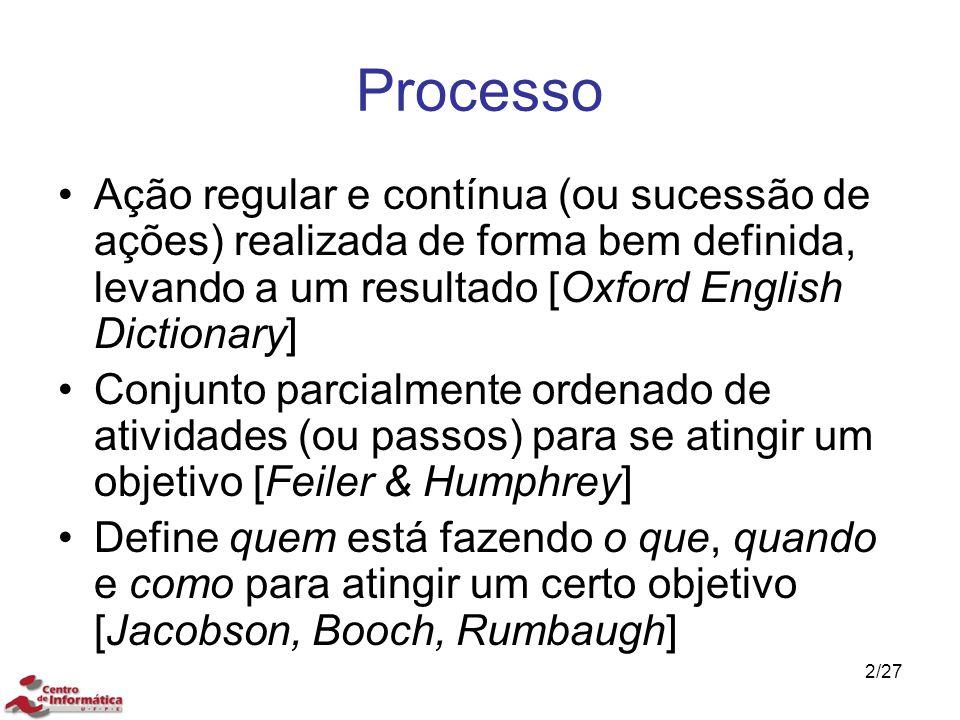 Processo Ação regular e contínua (ou sucessão de ações) realizada de forma bem definida, levando a um resultado [Oxford English Dictionary] Conjunto p