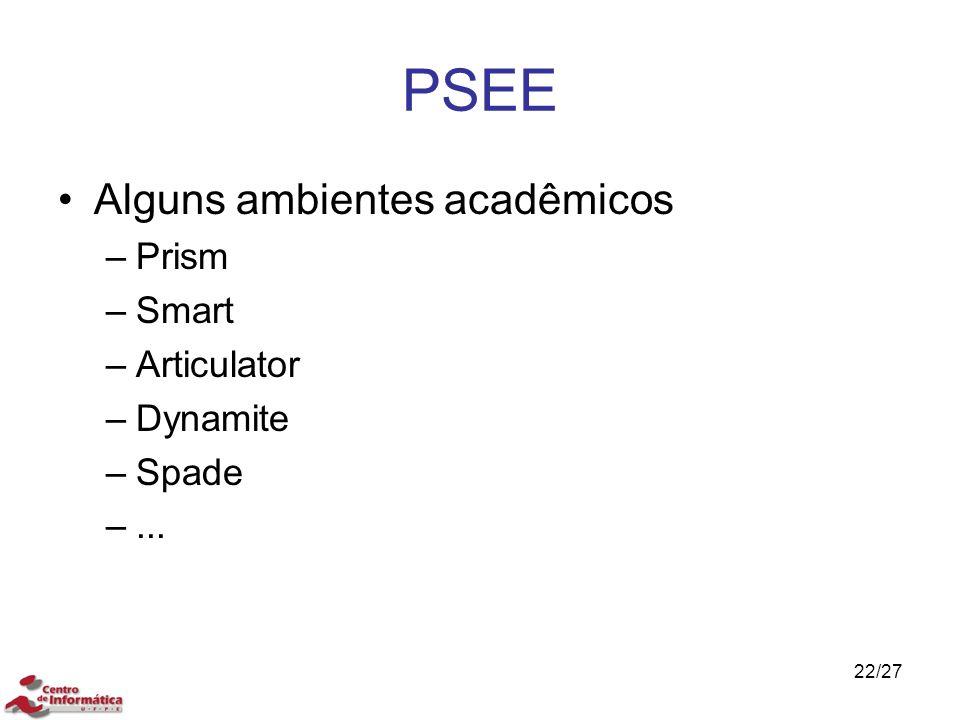 PSEE Alguns ambientes acadêmicos –Prism –Smart –Articulator –Dynamite –Spade –... 22/27