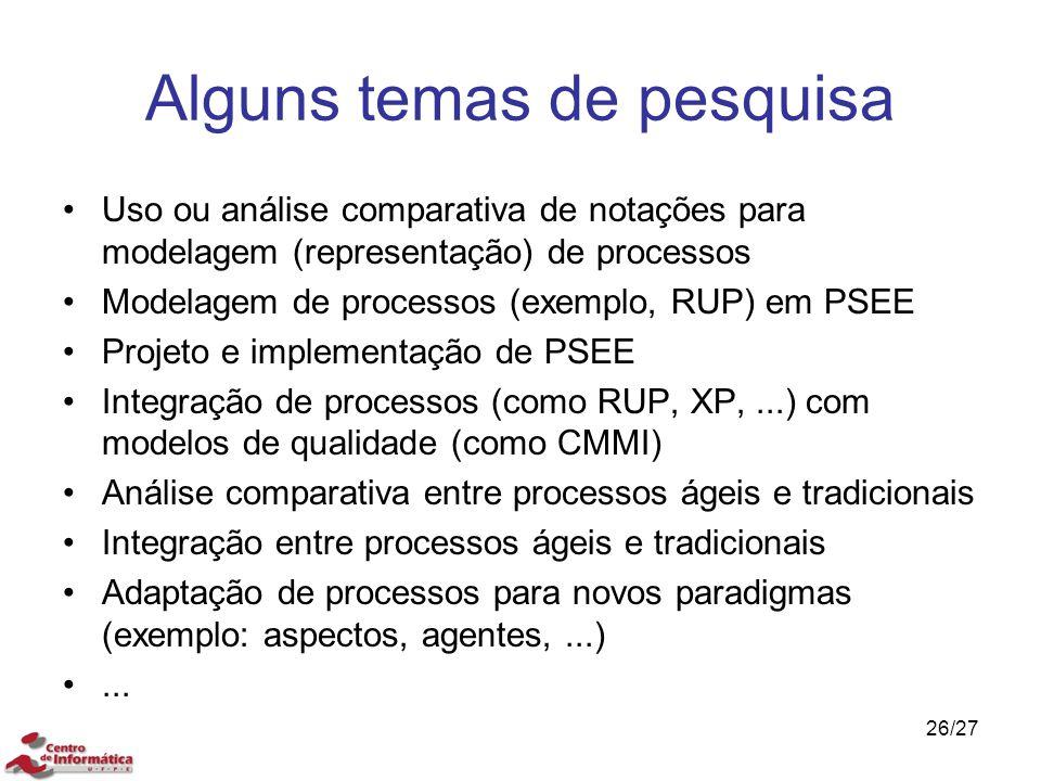 Alguns temas de pesquisa Uso ou análise comparativa de notações para modelagem (representação) de processos Modelagem de processos (exemplo, RUP) em P