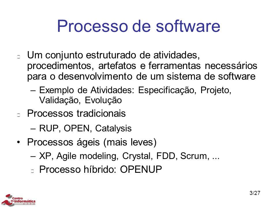 Processo de software Um conjunto estruturado de atividades, procedimentos, artefatos e ferramentas necessários para o desenvolvimento de um sistema de