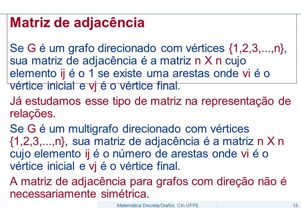 Matemática Discreta/Grafos CIn-UFPE15 Matriz de adjacência Se G é um grafo direcionado com vértices {1,2,3,...,n}, sua matriz de adjacência é a matriz n X n cujo elemento ij é o 1 se existe uma arestas onde vi é o vértice inicial e vj é o vértice final.