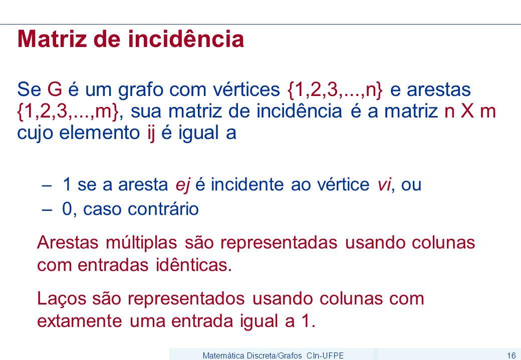 Matemática Discreta/Grafos CIn-UFPE16 Matriz de incidência Se G é um grafo com vértices {1,2,3,...,n} e arestas {1,2,3,...,m}, sua matriz de incidência é a matriz n X m cujo elemento ij é igual a – 1 se a aresta ej é incidente ao vértice vi, ou – 0, caso contrário Arestas múltiplas são representadas usando colunas com entradas idênticas.