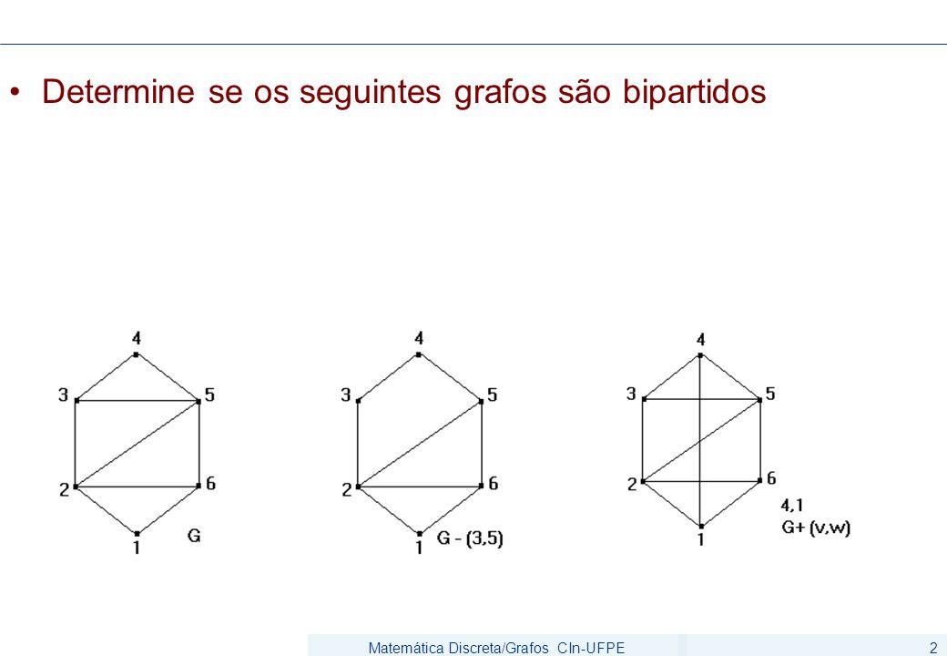 Matemática Discreta/Grafos CIn-UFPE2 Determine se os seguintes grafos são bipartidos