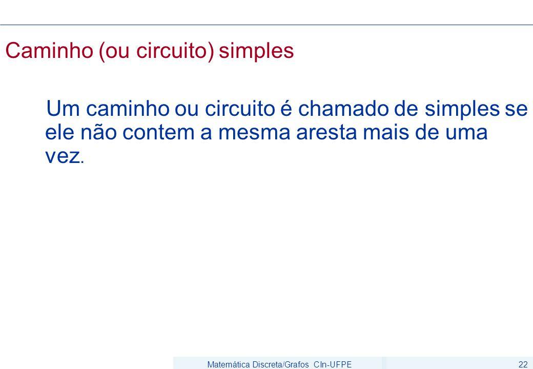 Matemática Discreta/Grafos CIn-UFPE22 Caminho (ou circuito) simples Um caminho ou circuito é chamado de simples se ele não contem a mesma aresta mais de uma vez.