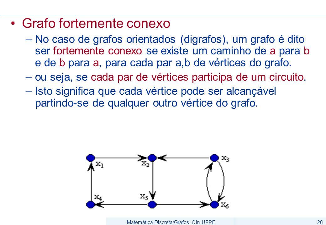 Matemática Discreta/Grafos CIn-UFPE28 Grafo fortemente conexo –No caso de grafos orientados (digrafos), um grafo é dito ser fortemente conexo se existe um caminho de a para b e de b para a, para cada par a,b de vértices do grafo.