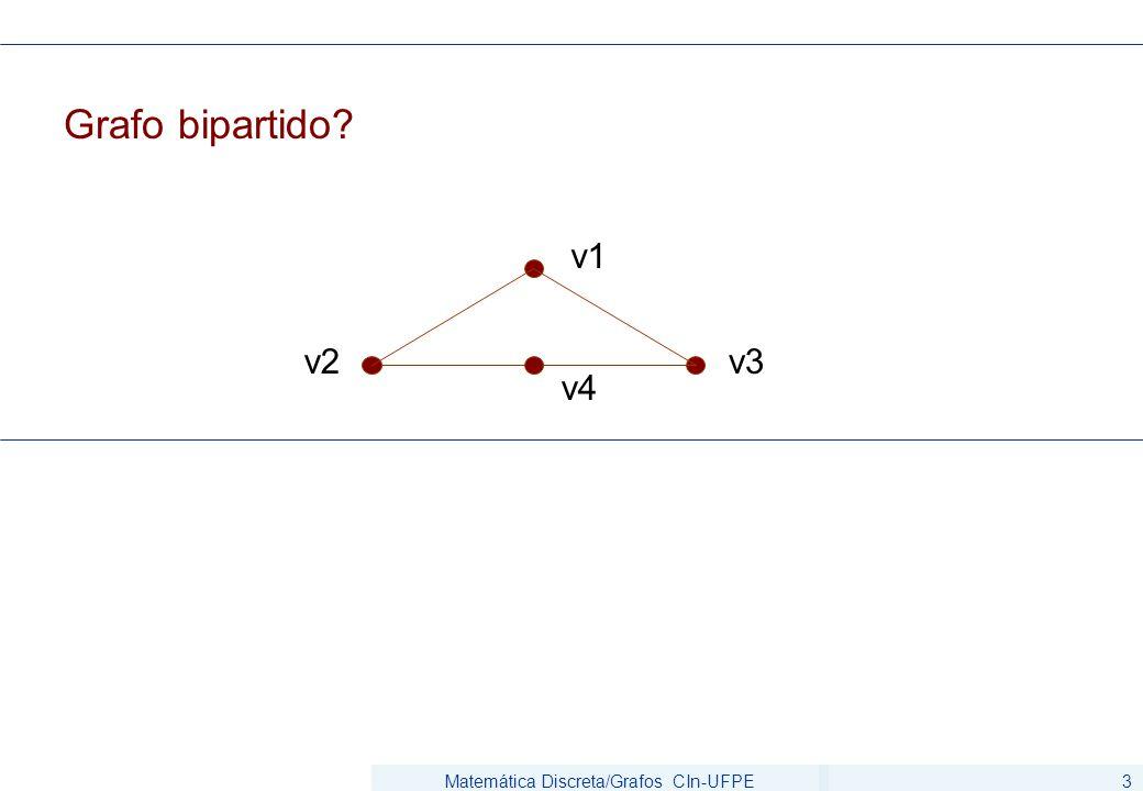 Matemática Discreta/Grafos CIn-UFPE3 Grafo bipartido? v1 v2 v4 v3
