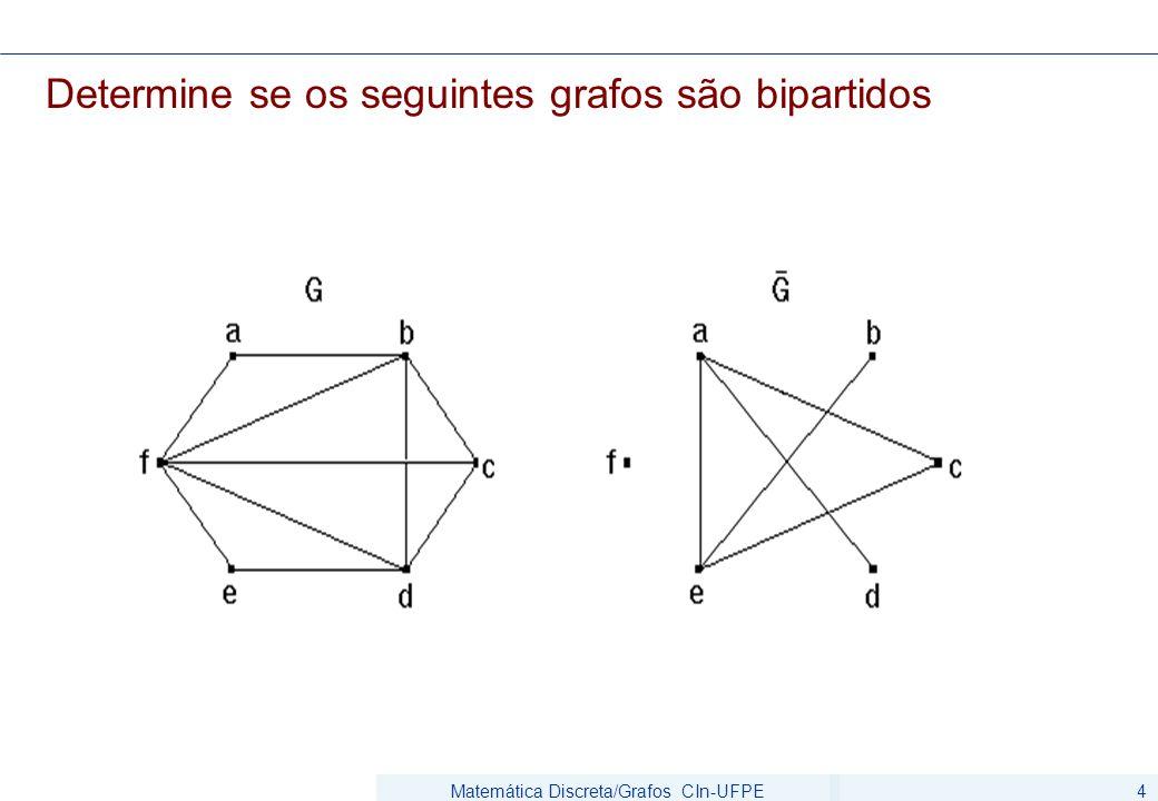 Matemática Discreta/Grafos CIn-UFPE4 Determine se os seguintes grafos são bipartidos