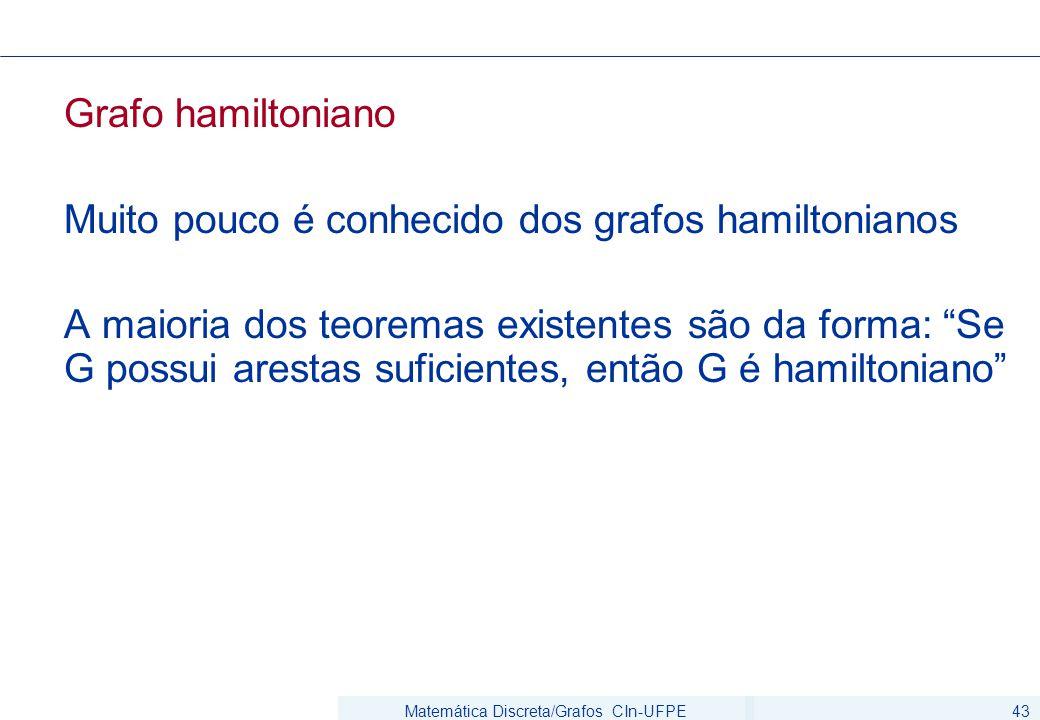 Matemática Discreta/Grafos CIn-UFPE43 Grafo hamiltoniano Muito pouco é conhecido dos grafos hamiltonianos A maioria dos teoremas existentes são da forma: Se G possui arestas suficientes, então G é hamiltoniano