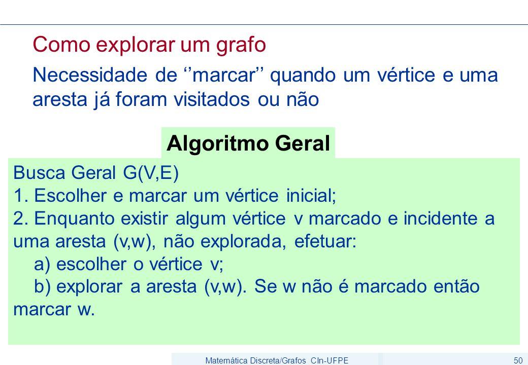 Matemática Discreta/Grafos CIn-UFPE50 Como explorar um grafo Necessidade de ''marcar'' quando um vértice e uma aresta já foram visitados ou não Busca Geral G(V,E) 1.