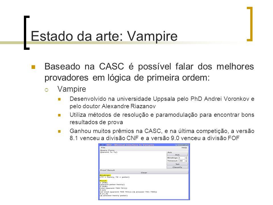 Estado da arte: Vampire Baseado na CASC é possível falar dos melhores provadores em lógica de primeira ordem:  Vampire Desenvolvido na universidade U