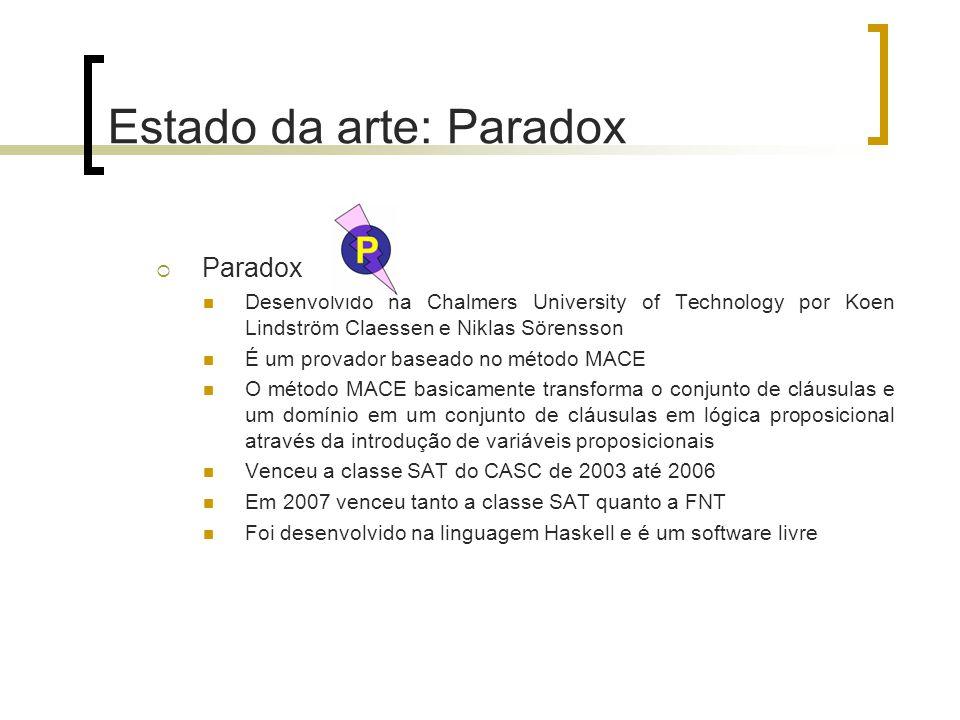 Estado da arte: Paradox  Paradox Desenvolvido na Chalmers University of Technology por Koen Lindström Claessen e Niklas Sörensson É um provador baseado no método MACE O método MACE basicamente transforma o conjunto de cláusulas e um domínio em um conjunto de cláusulas em lógica proposicional através da introdução de variáveis proposicionais Venceu a classe SAT do CASC de 2003 até 2006 Em 2007 venceu tanto a classe SAT quanto a FNT Foi desenvolvido na linguagem Haskell e é um software livre