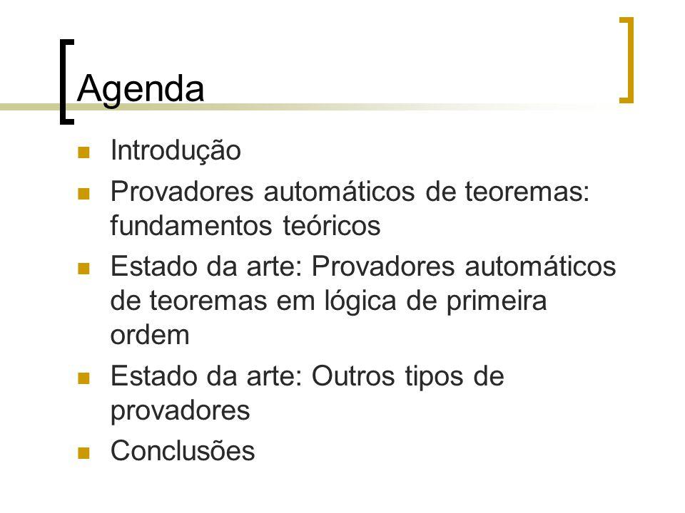 Agenda Introdução Provadores automáticos de teoremas: fundamentos teóricos Estado da arte: Provadores automáticos de teoremas em lógica de primeira ordem Estado da arte: Outros tipos de provadores Conclusões