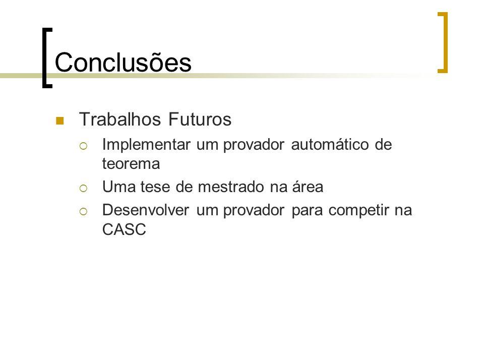 Conclusões Trabalhos Futuros  Implementar um provador automático de teorema  Uma tese de mestrado na área  Desenvolver um provador para competir na CASC