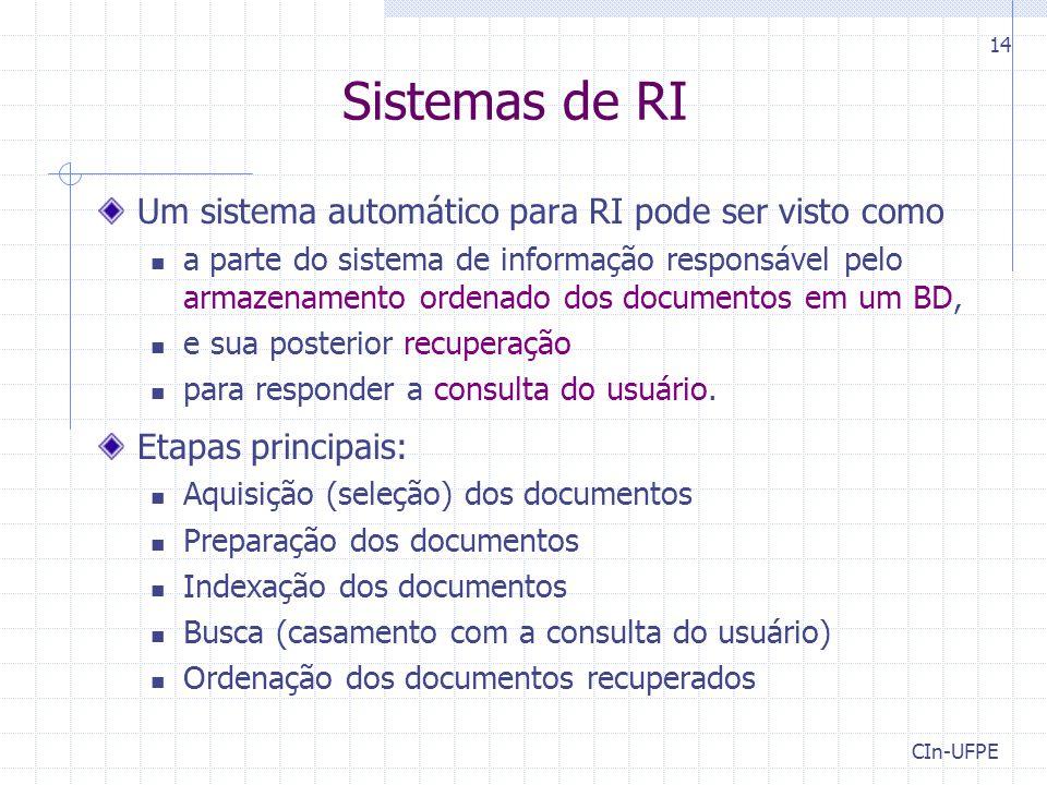 CIn-UFPE 14 Sistemas de RI Um sistema automático para RI pode ser visto como a parte do sistema de informação responsável pelo armazenamento ordenado dos documentos em um BD, e sua posterior recuperação para responder a consulta do usuário.
