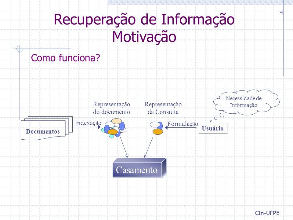CIn-UFPE 5 Tarefa típica de Recuperação de Informação (RI) Dados Um corpus de documentos (itens de dados) & Uma consulta do usuário (representada por palavras-chave) Encontrar Um conjunto ordenados de documentos que são relevantes para a consulta