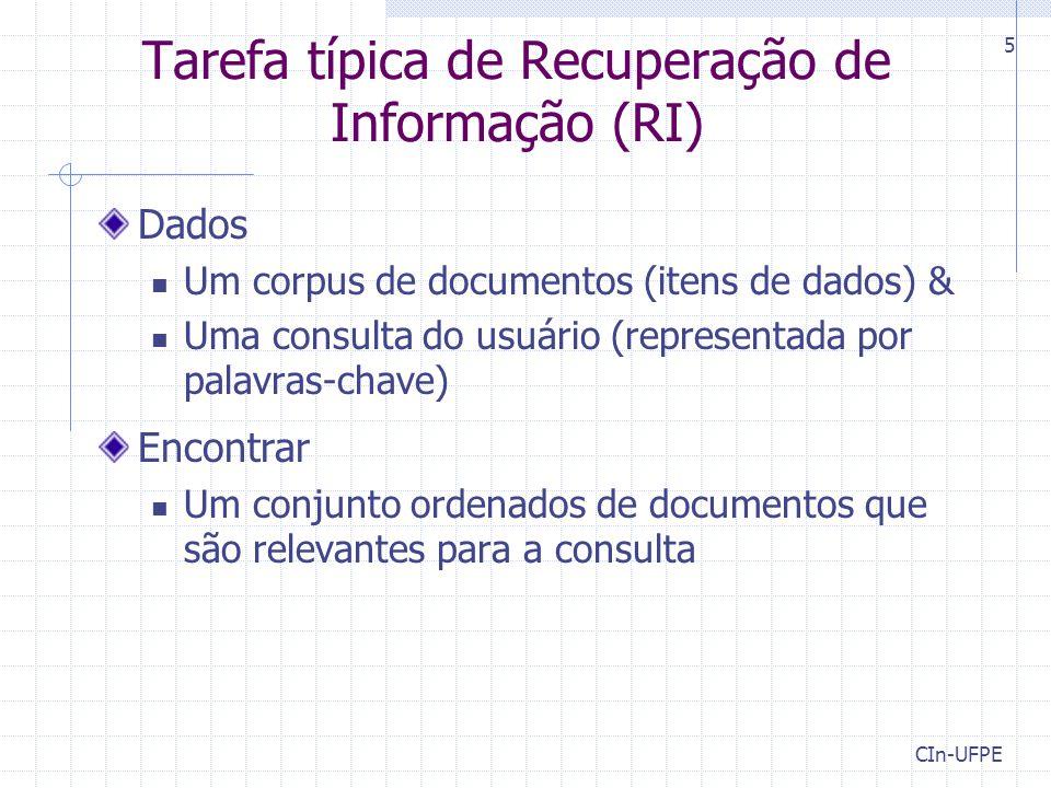 CIn-UFPE 6 Sistemas de RI Sistema de RI Consulta Corpus de documentos Documentos ordenados 1.