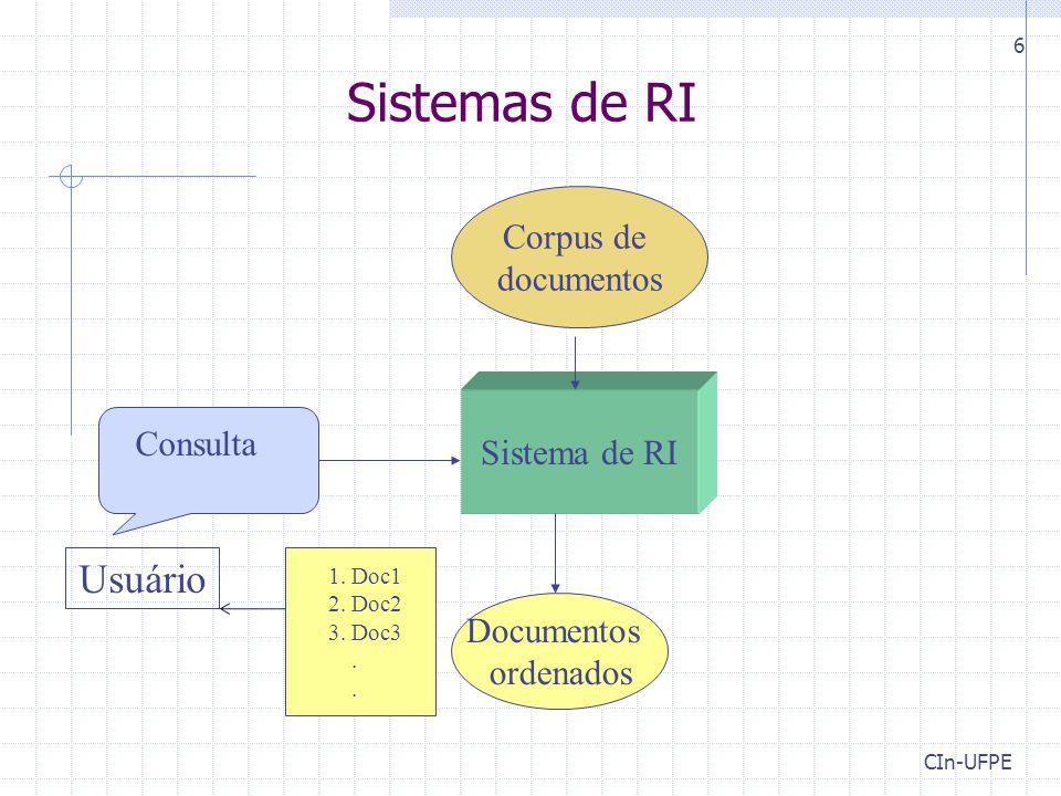 CIn-UFPE 17 Etapa 1: Aquisição (seleção) de Documentos Manual para sistemas gerais de RI E.g., sistemas de bibliotecas Automática para sistemas na Web Uso de crawlers (spiders)  Programas que navegam pela Web e fazem download das páginas para um servidor  Partem de um conjunto inicial de links  Executam busca em largura ou em profundidade Crawler do Google  Executa em várias máquinas em paralelo  Indexou 26 Milhões de páginas em 8 dias