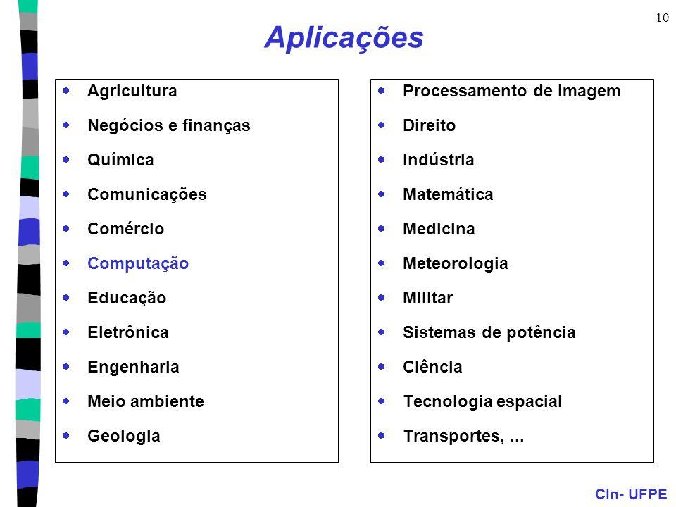 CIn- UFPE 10 Aplicações  Agricultura  Negócios e finanças  Química  Comunicações  Comércio  Computação  Educação  Eletrônica  Engenharia  Me