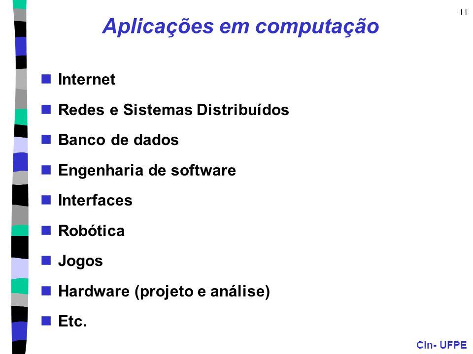 CIn- UFPE 11 Aplicações em computação Internet Redes e Sistemas Distribuídos Banco de dados Engenharia de software Interfaces Robótica Jogos Hardware