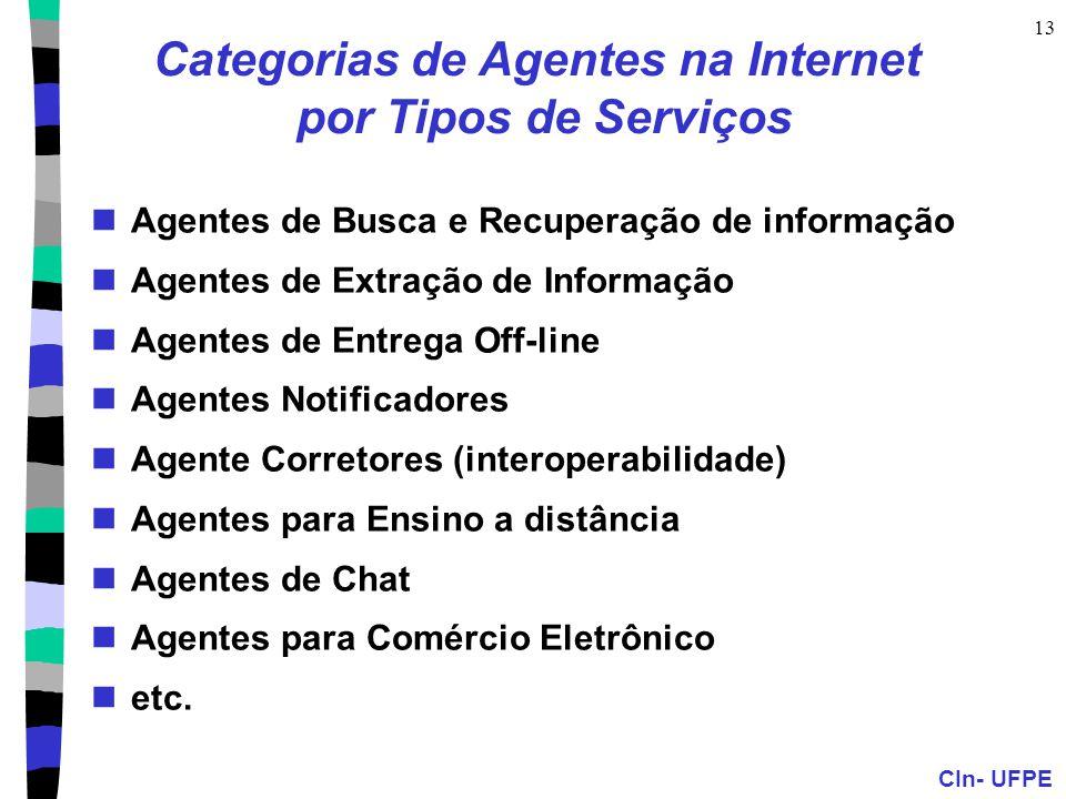 CIn- UFPE 13 Categorias de Agentes na Internet por Tipos de Serviços Agentes de Busca e Recuperação de informação Agentes de Extração de Informação Ag