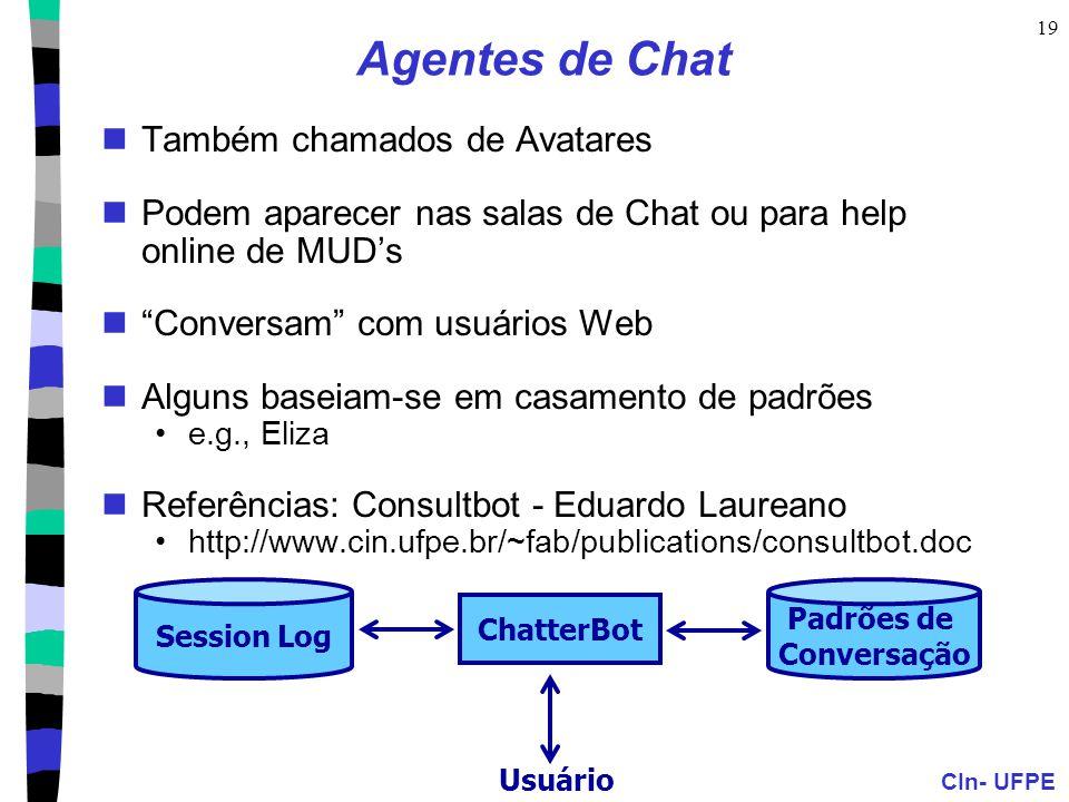 CIn- UFPE 19 Session Log Padrões de Conversação ChatterBot Usuário Agentes de Chat Também chamados de Avatares Podem aparecer nas salas de Chat ou par