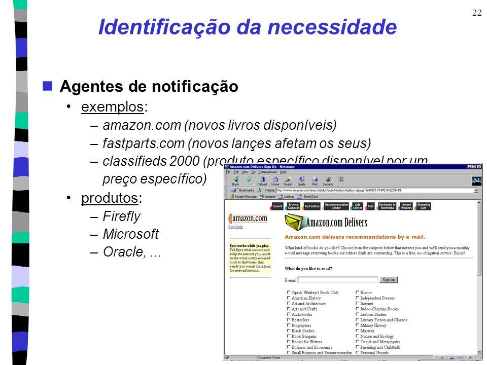 CIn- UFPE 22 Identificação da necessidade Agentes de notificação exemplos: –amazon.com (novos livros disponíveis) –fastparts.com (novos lançes afetam