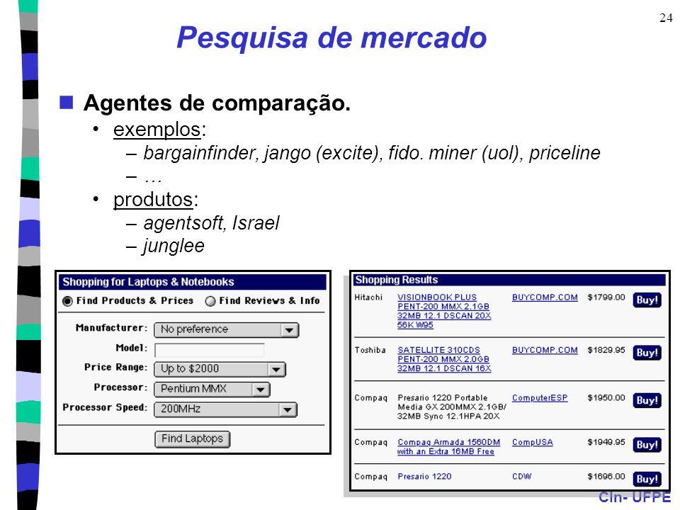CIn- UFPE 24 Pesquisa de mercado Agentes de comparação. exemplos: –bargainfinder, jango (excite), fido. miner (uol), priceline –… produtos: –agentsoft