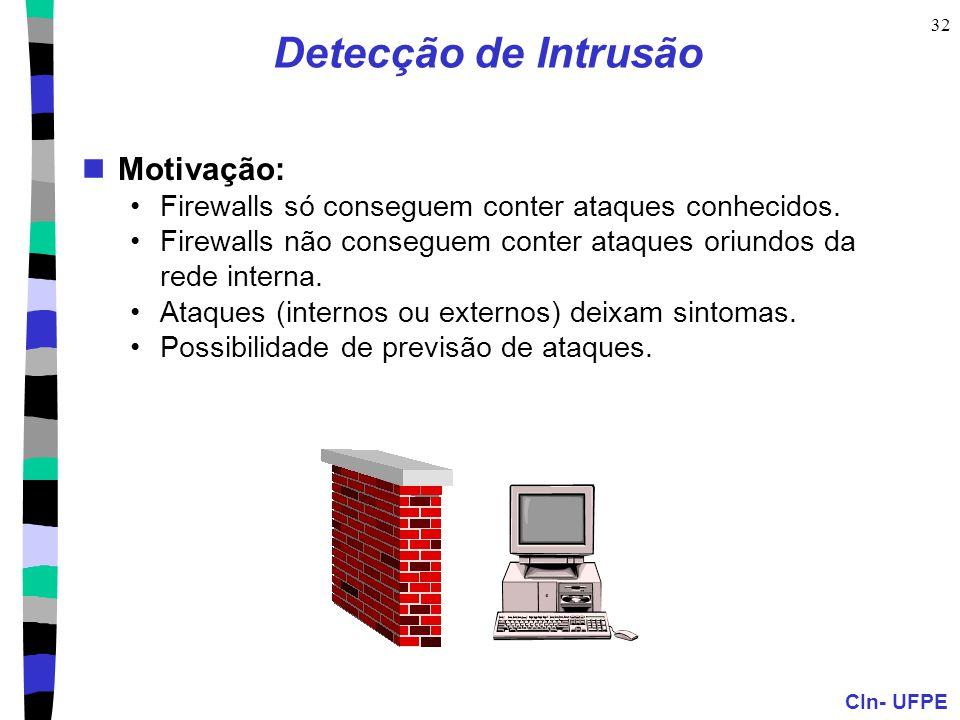 CIn- UFPE 32 Detecção de Intrusão Motivação: Firewalls só conseguem conter ataques conhecidos. Firewalls não conseguem conter ataques oriundos da rede