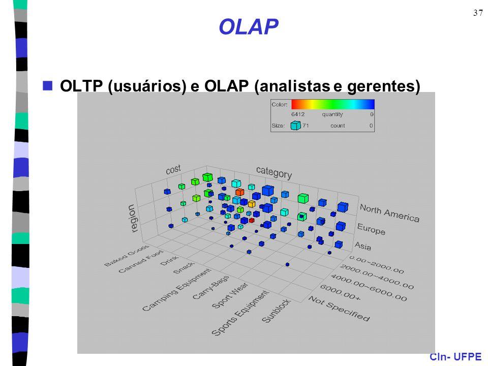 CIn- UFPE 37 OLAP OLTP (usuários) e OLAP (analistas e gerentes)