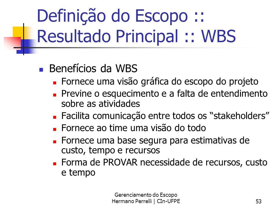 Gerenciamento do Escopo Hermano Perrelli | CIn-UFPE53 Definição do Escopo :: Resultado Principal :: WBS Benefícios da WBS Fornece uma visão gráfica do