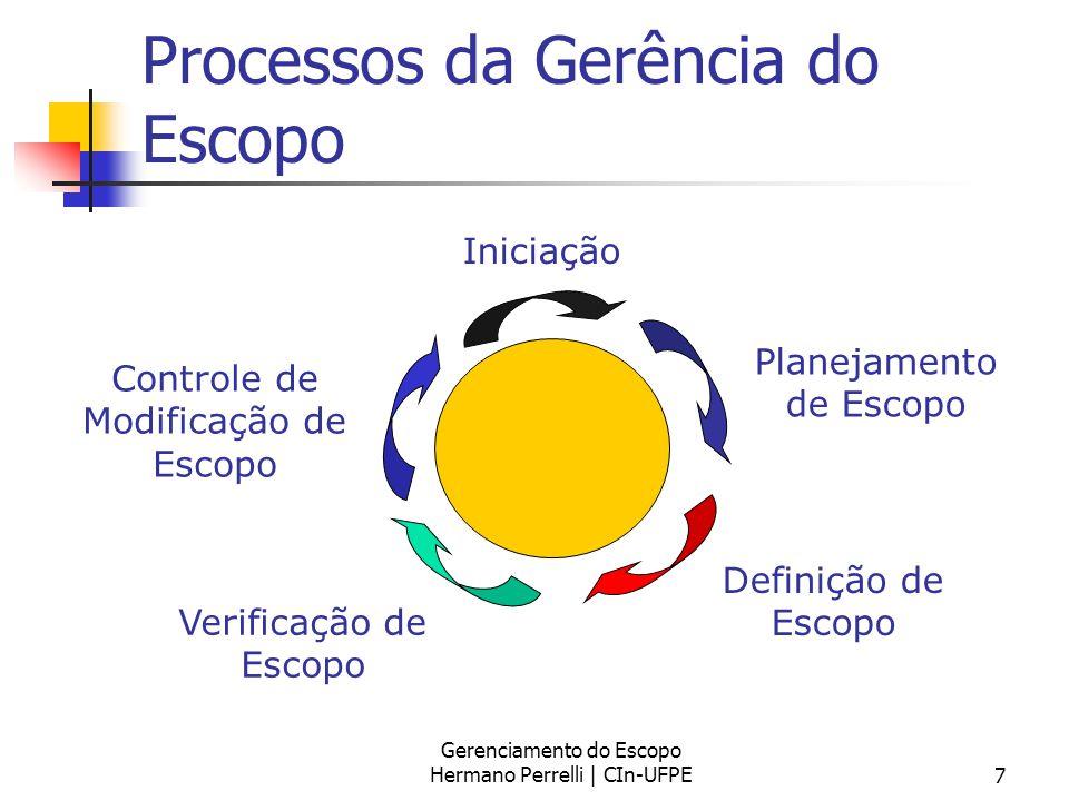 Gerenciamento do Escopo Hermano Perrelli | CIn-UFPE7 Processos da Gerência do Escopo Iniciação Planejamento de Escopo Definição de Escopo Verificação