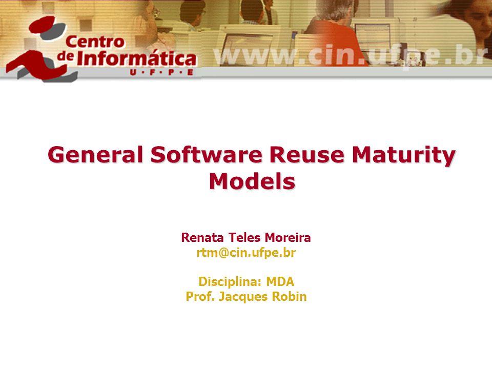 General Software Reuse Maturity Models Renata Teles Moreira rtm@cin.ufpe.br Disciplina: MDA Prof. Jacques Robin