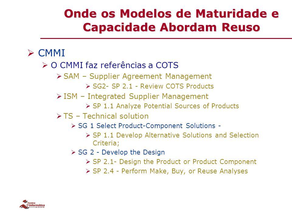 Onde os Modelos de Maturidade e Capacidade Abordam Reuso  CMMI  O CMMI faz referências a COTS  SAM – Supplier Agreement Management  SG2- SP 2.1 -