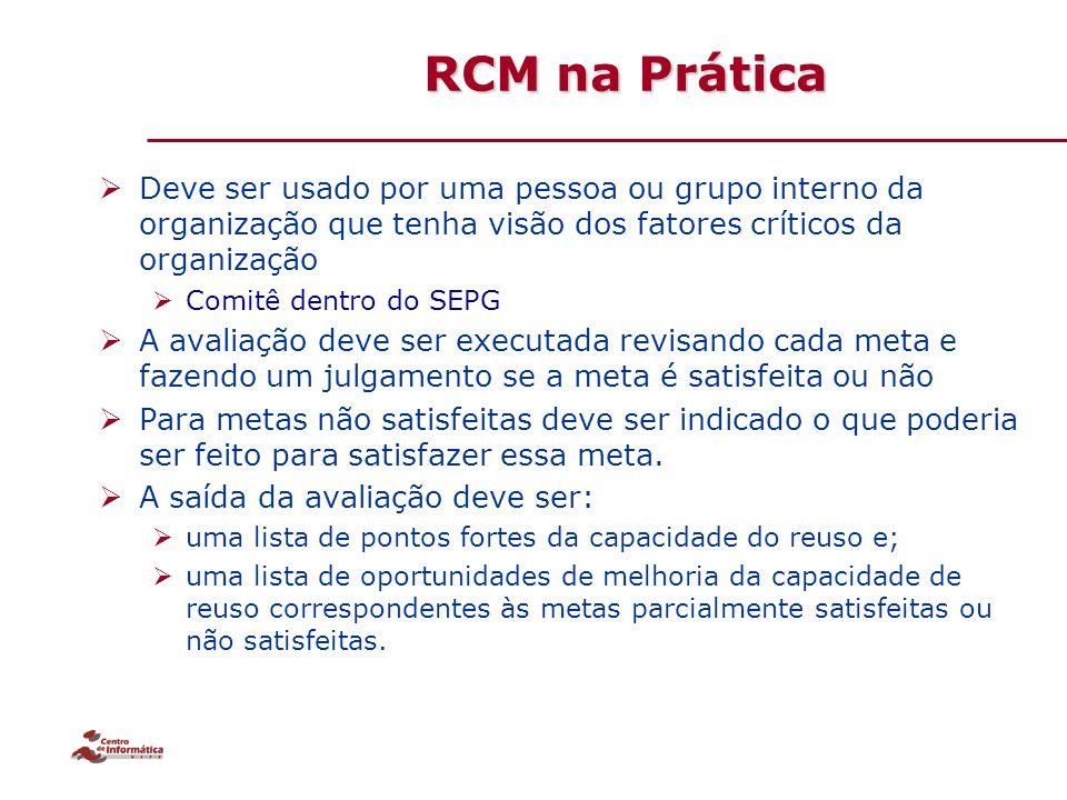 RCM na Prática  Deve ser usado por uma pessoa ou grupo interno da organização que tenha visão dos fatores críticos da organização  Comitê dentro do