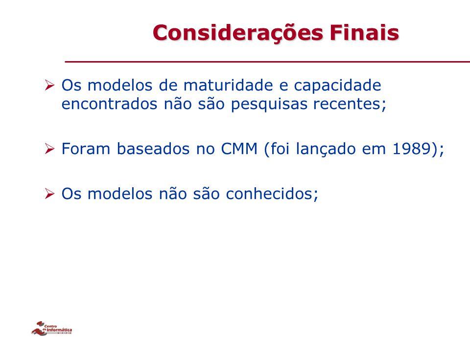 Considerações Finais  Os modelos de maturidade e capacidade encontrados não são pesquisas recentes;  Foram baseados no CMM (foi lançado em 1989); 