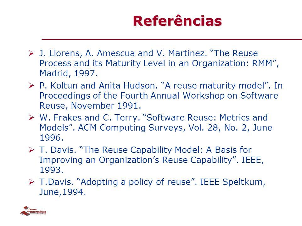 "Referências  J. Llorens, A. Amescua and V. Martinez. ""The Reuse Process and its Maturity Level in an Organization: RMM"", Madrid, 1997.  P. Koltun an"