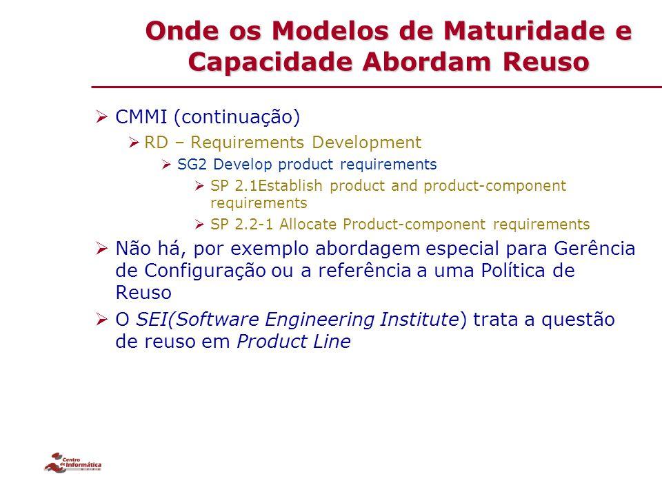 Onde os Modelos de Maturidade e Capacidade Abordam Reuso  CMMI (continuação)  RD – Requirements Development  SG2 Develop product requirements  SP