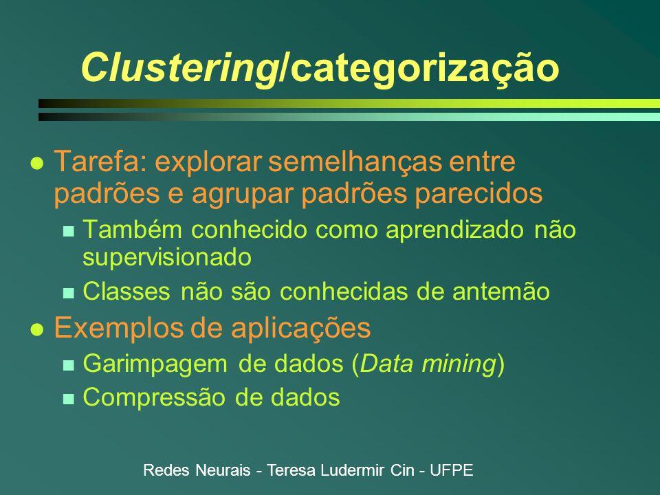 Redes Neurais - Teresa Ludermir Cin - UFPE Clustering/categorização l Tarefa: explorar semelhanças entre padrões e agrupar padrões parecidos n Também conhecido como aprendizado não supervisionado n Classes não são conhecidas de antemão l Exemplos de aplicações n Garimpagem de dados (Data mining) n Compressão de dados